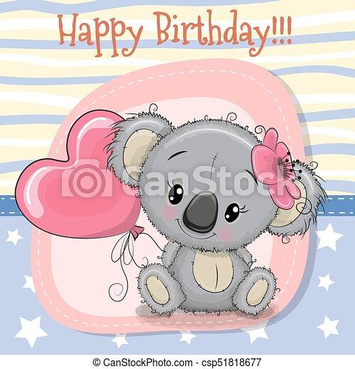 Greeting card koala girl with balloon greeting card cute koala girl greeting card koala girl with balloon csp51818677 m4hsunfo