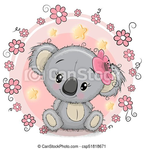 Greeting card koala with flowers greeting card cute cartoon koala greeting card koala with flowers csp51818671 m4hsunfo
