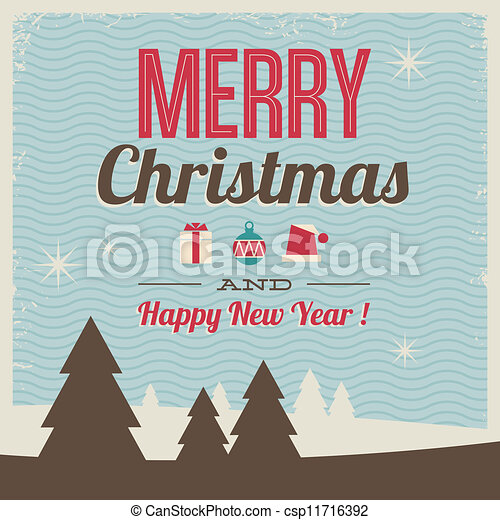 greeting card, merry christmas and - csp11716392