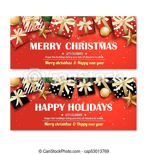 Christmas Party Poster.Greeting Card Merry Christmas Party Poster Banner Design Template On Red Background Happy Holiday And New Year With Gift Box For Voucher Coupon Theme