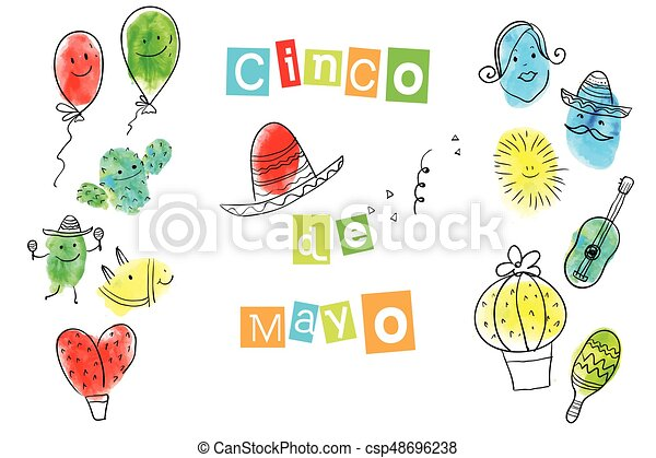 Greeting card of the cinco de mayo day fingerprint art collection greeting card of the cinco de mayo day fingerprint art collection of prints of fingers and paint the outlines of characters of humans and animals vector m4hsunfo