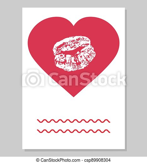 Greeting card or wedding invitation. Imprint of female lips in red heart shape. Vector illustration. - csp89908304
