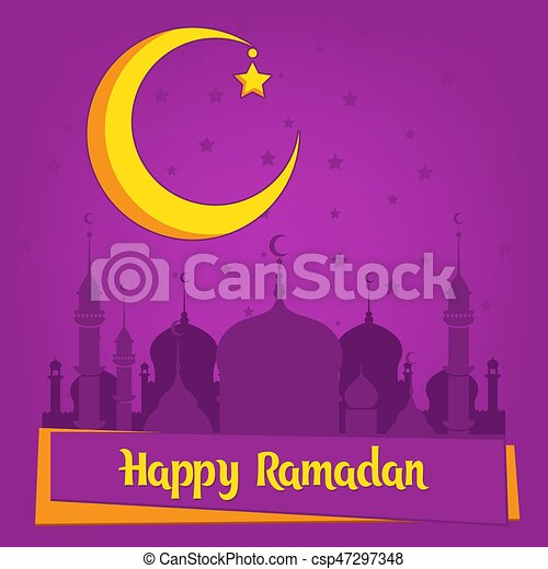 Greeting card template for muslim holiday with flat illustration of greeting card template for muslim holiday with flat illustration of islamic mosque and crescent m4hsunfo