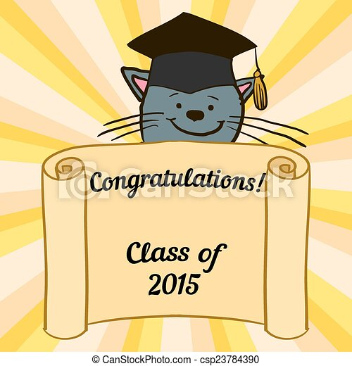 greeting card with a character and congratulations graduate