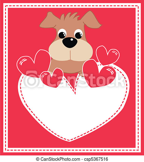 Greeting Card With A Cute Puppy Valentines Day Or Birthday Card