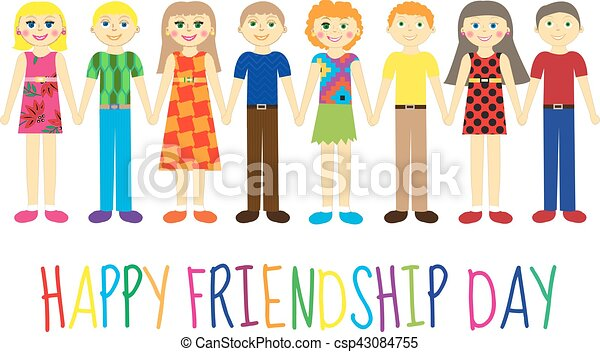 Greeting card with a happy friendship day greeting card cute kids greeting card with a happy friendship day greeting card cute kids cartoon holding hands vector m4hsunfo