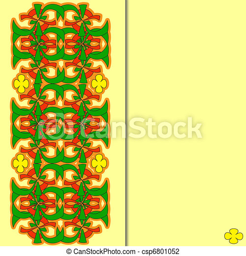 Greeting card with a vegetative ornament, flower - csp6801052