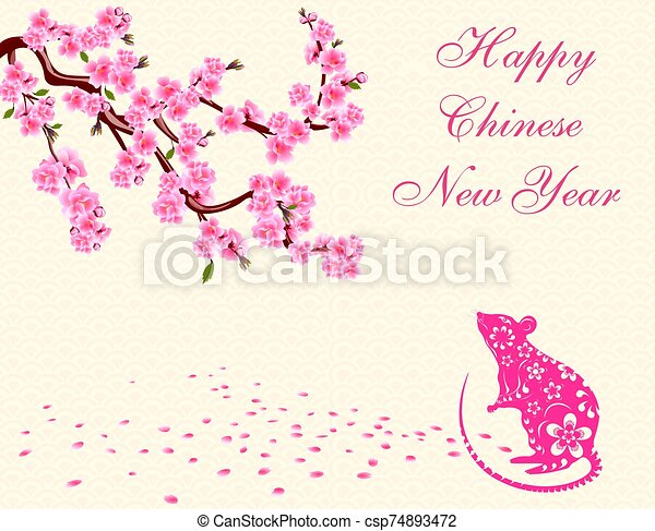 Greeting card. with an inscription. The rat is a symbol of the Chinese New Year 2020. Blooming cherry. Sakura. illustration - csp74893472