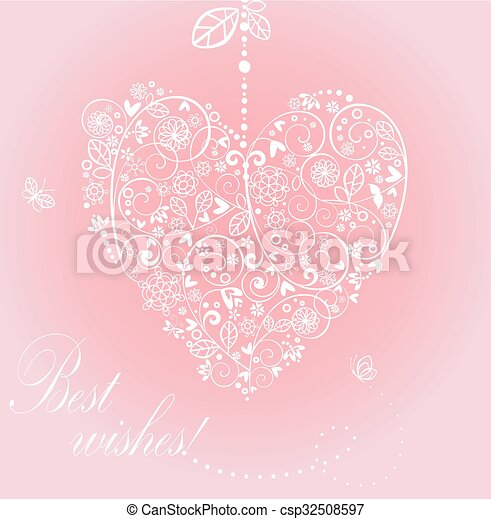 Greeting card with beautiful lacy hanging heart - csp32508597