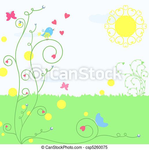 greeting card with bird - csp5260075