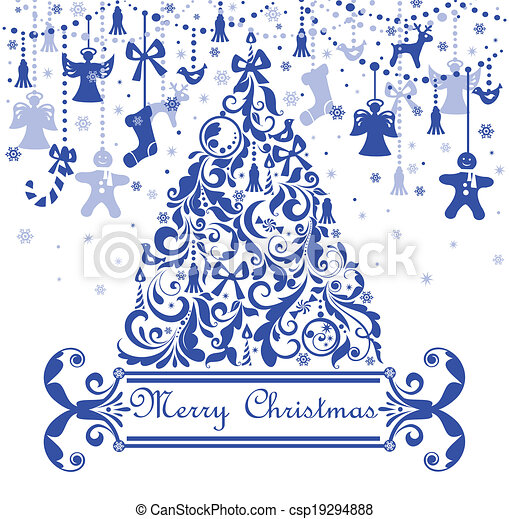 Greeting card with blue christmas tree - csp19294888