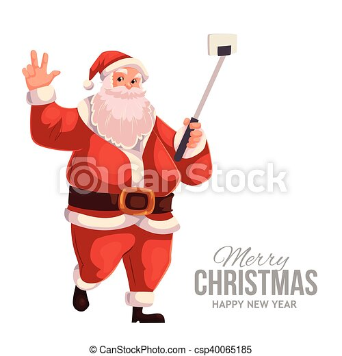 greeting card with cartoon santa claus making selfie csp40065185