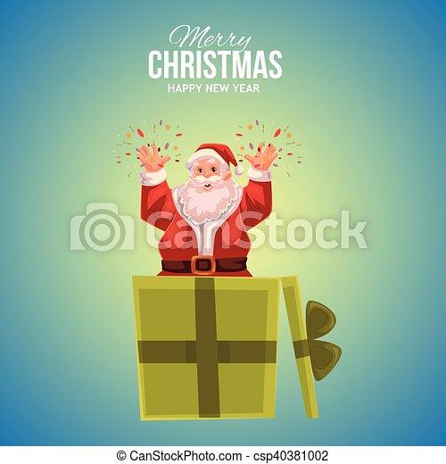 Greeting card with cartoon santa claus popping out of box cartoon greeting card with cartoon santa claus popping out of box csp40381002 m4hsunfo