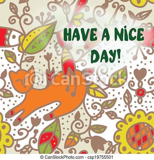 Greeting card with cat have a nice day background greeting card with cat have a nice day csp19755501 m4hsunfo