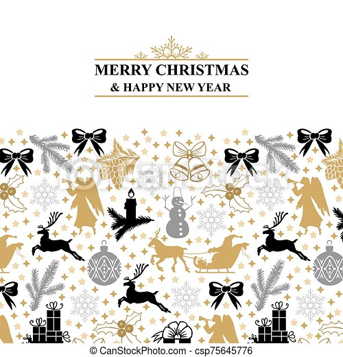 Greeting card with Christmas symbols - csp75645776