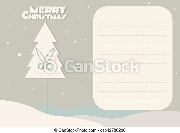 Greeting Card With Christmas Tree And Scissors