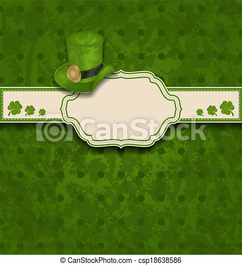 greeting card with clovers and hat for St. Patrick's Day - csp18638586