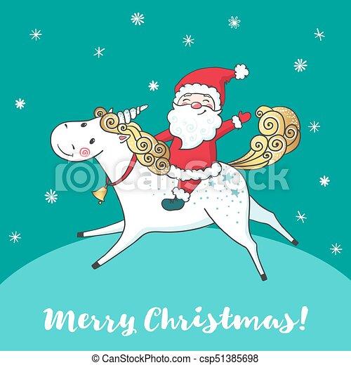 Greeting card with cute unicorn and santa claus cartoon hand drawn greeting card with cute unicorn and santa claus csp51385698 m4hsunfo