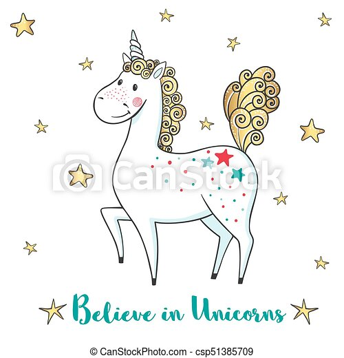 Greeting card with cute unicorn and stars cartoon hand drawn greeting card with cute unicorn and stars csp51385709 m4hsunfo