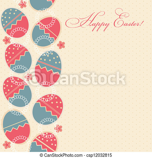 greeting card with different easter eggs - csp12032815