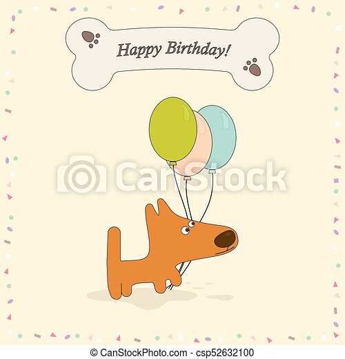 Greeting Card With Dog Happy Birthday Greeting Card With Cute Dog