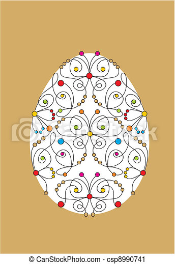greeting card with easter egg - csp8990741