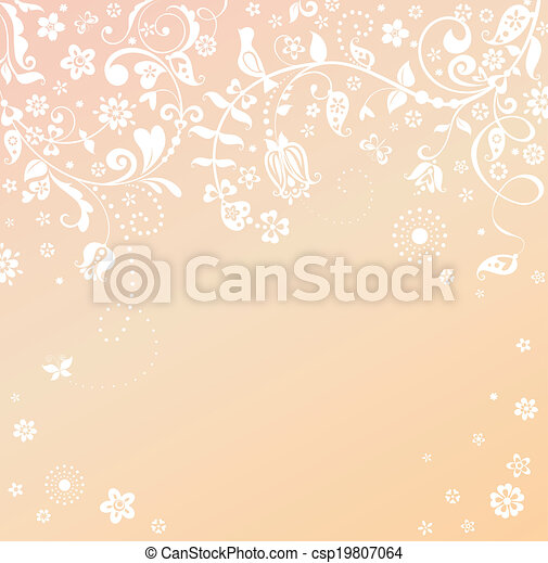 Greeting card with flowers and bird - csp19807064