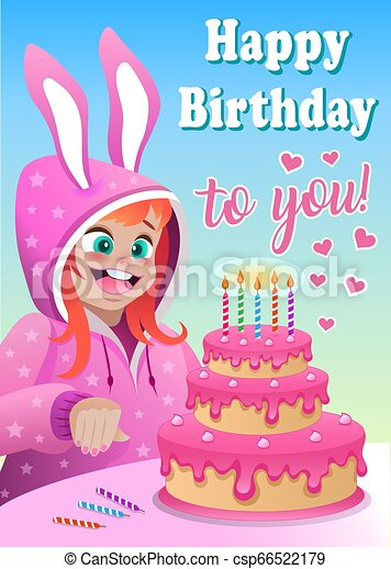 Terrific Greeting Card With Girl In Bunny Suit And Cake Greeting Card For Birthday Cards Printable Nowaargucafe Filternl