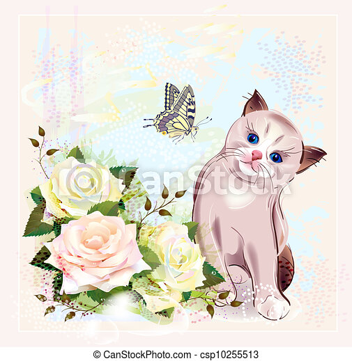greeting card with kitten, butterfly and roses - csp10255513