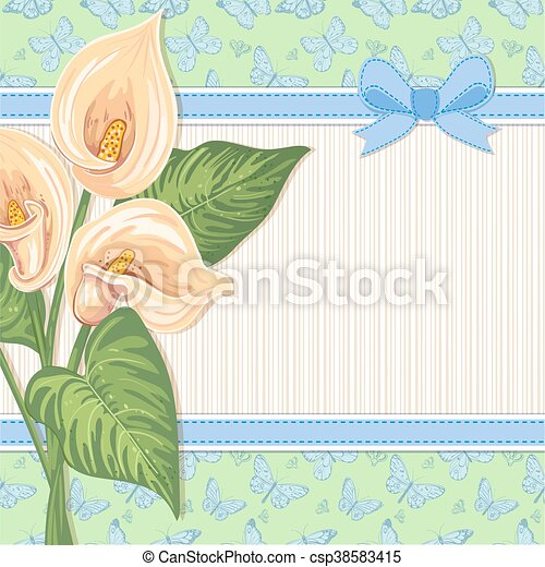 Greeting card with Lily Calla - csp38583415