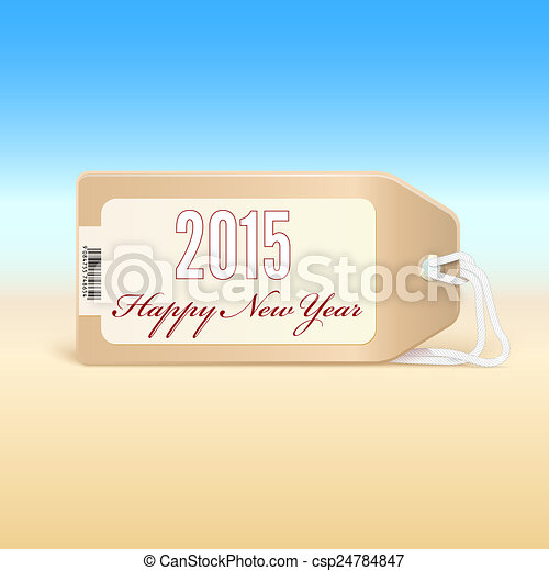 Greeting card with new year 2015 on the price tag. - csp24784847