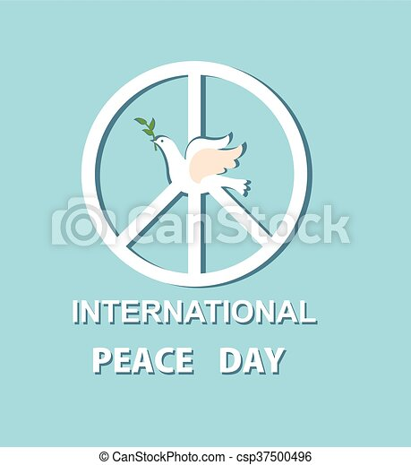 Greeting Card With Paper Dove And Peace Symbol For International
