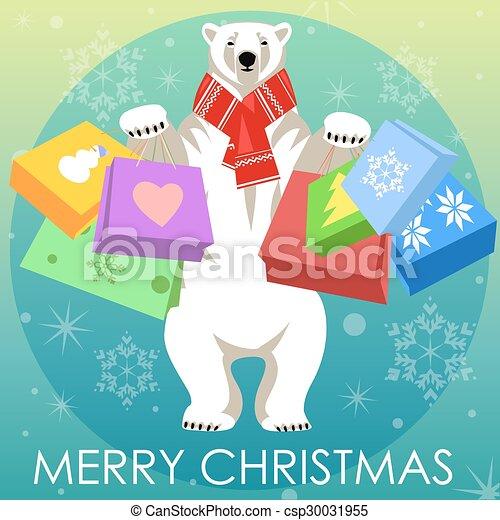 Greeting Card with Polar bear - csp30031955