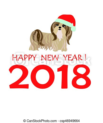 Greeting card with puppy of Yorkshire terrier for Chinese New year 2018 - csp46949664