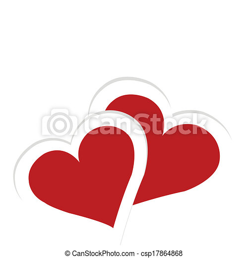 Greeting card with two hearts, Valentine's Day card - csp17864868