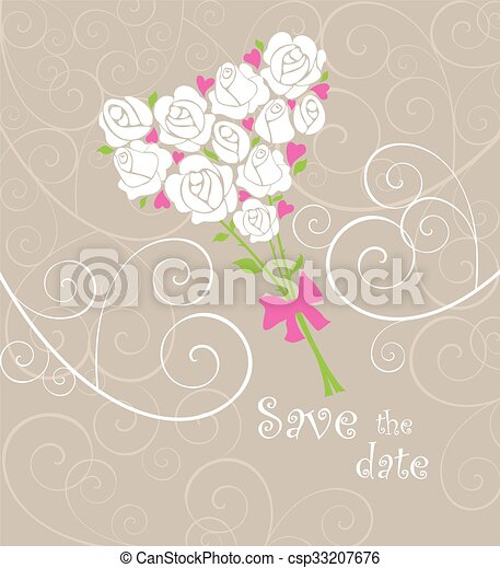 Greeting card with wedding bouquet - csp33207676