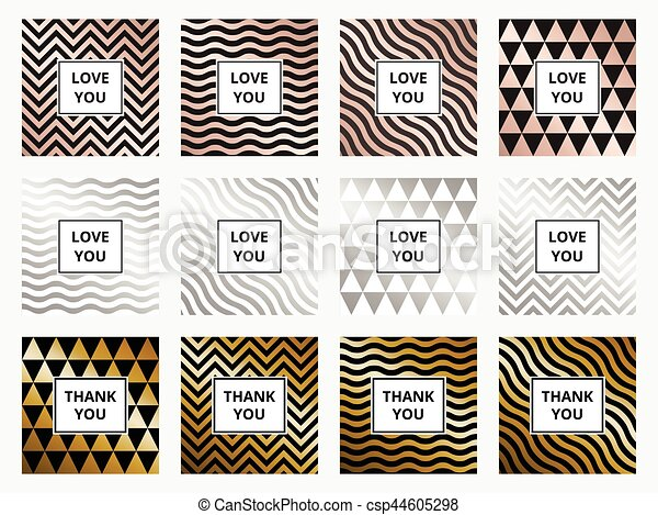 Greeting Cards Set Geometric Rose Gold And Silver Background Vector