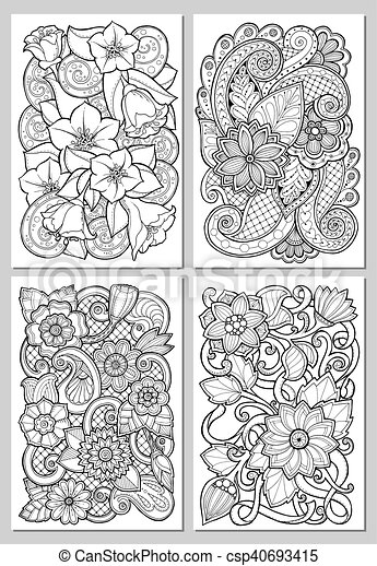 Greeting cards with abstract flowers. pages for adult coloring book ...
