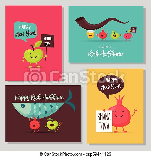 Greeting cards with funny cartoon characters for rosh hashanah greeting cards with funny cartoon characters for rosh hashanah jewish holiday honey jar apples m4hsunfo