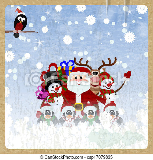 Greeting Christmas card with Santa Claus, reindeer, snowman, penguins and bullfinch on retro background - csp17079835