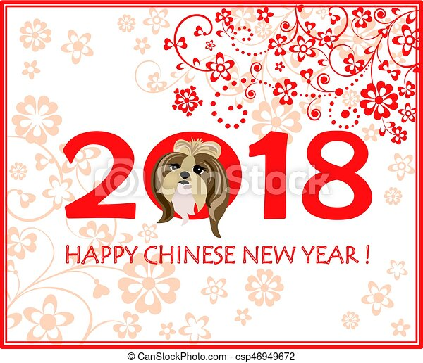 Greeting decorative card with puppy of shi tsu for Chinese New year 2018 - csp46949672