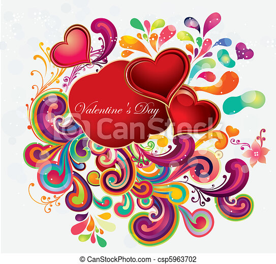 Greeting illustration with hearts - csp5963702