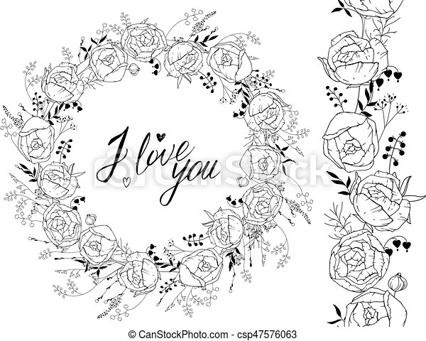 Greeting template with round frame made of ranunculus. Contour black flowers and phrase I love you - csp47576063