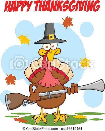 Greeting With Pilgrim Turkey Bird - csp16519454