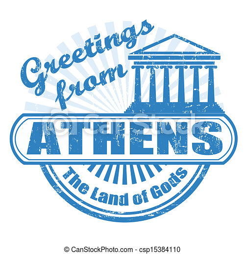 Greetings from Athens stamp - csp15384110