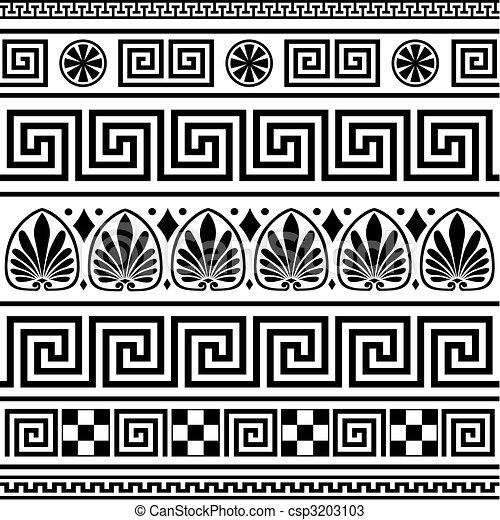 grek, brzegi, wektor, komplet - csp3203103