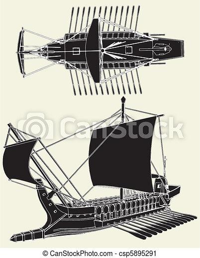 grek, statek, starożytny - csp5895291