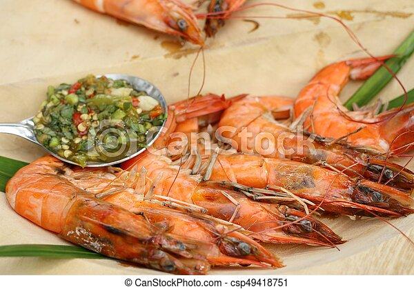 grelhados, camarões - csp49418751