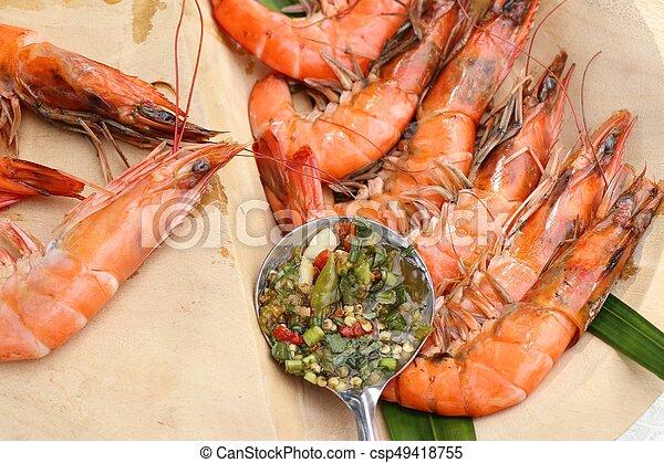 grelhados, camarões - csp49418755