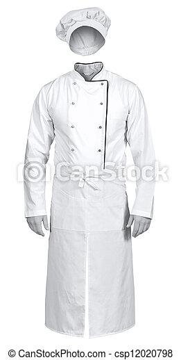 grembiule, chef, isolato, giacca, fondo, cappello bianco - csp12020798